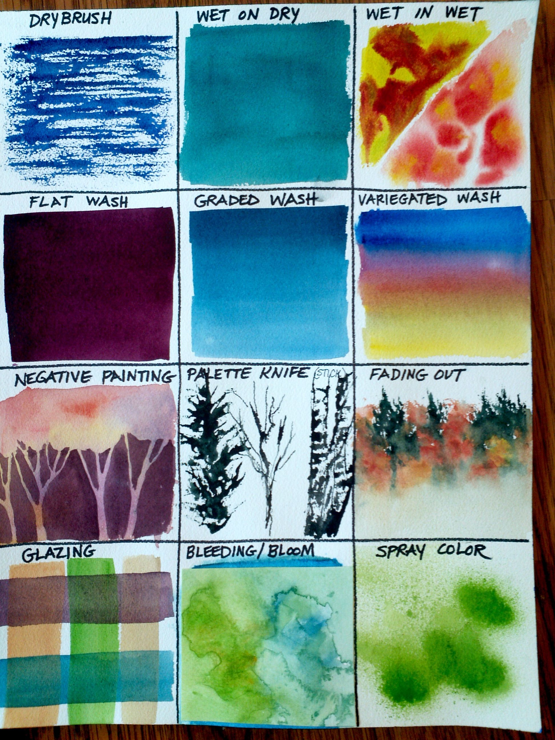 Page 1 Of 2 Watercolor Techniques Samples By Christy