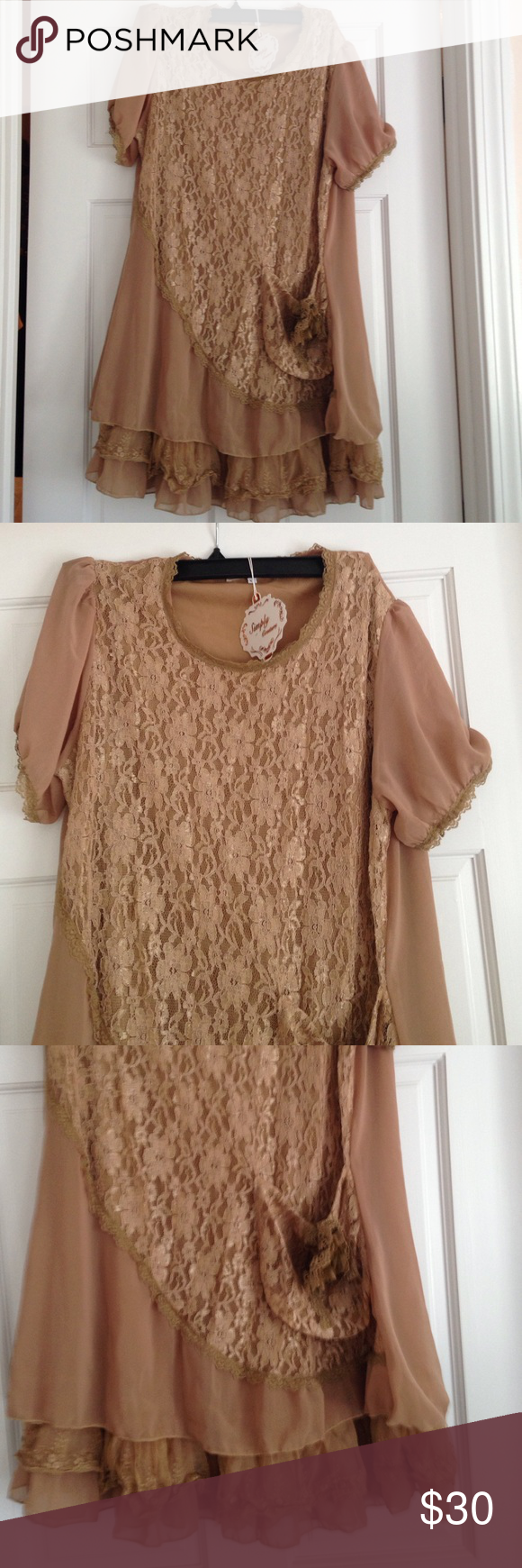 Tunic top with pocket Pretty chiffon and all over lace fully lined has front pocket nwt Simply couture Tops Tunics