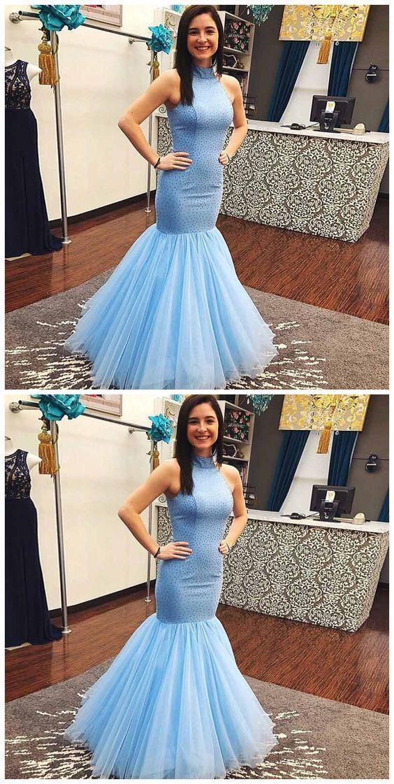 Mode hellblau Tüll Meerjungfrau Abendkleid, formale lange ...