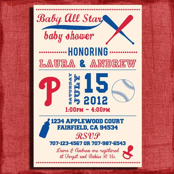 baseball baby shower invitations baby phillies baseball themed