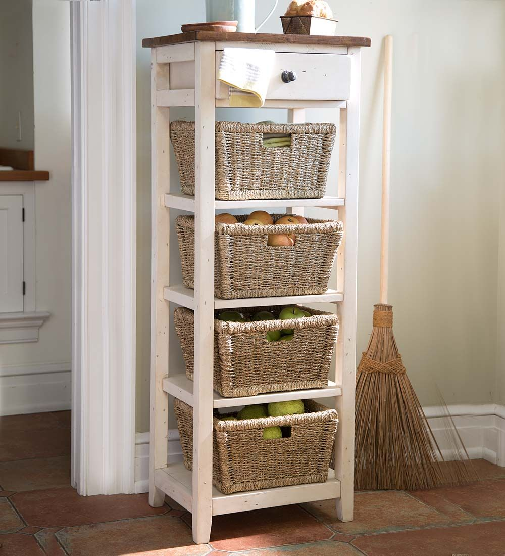 Genial Drawer Stand With Shelves And Wicker Storage Baskets | Reclaimed Wood  Shelving Unit Is Hand Finished And Looks Like A Found Piece.
