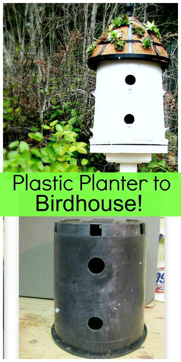 Diy saturday upcycled plastic planter into a birdhouse for Plastic duck house