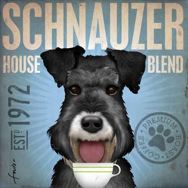 Schnauzer Coffee Dog Dog Lover Dog Art Coffee Art Canvas