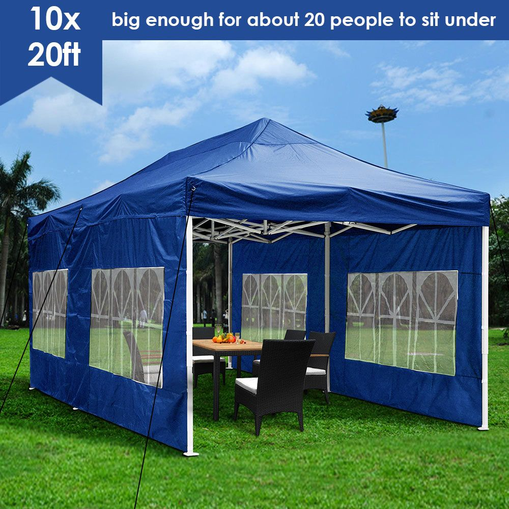 Yescom 10x20 Ez Pop Up Canopy Folding Wedding Party Tent Outdoor Navy Walmart Com Canopy Outdoor Patio Canopy Outdoor Tent