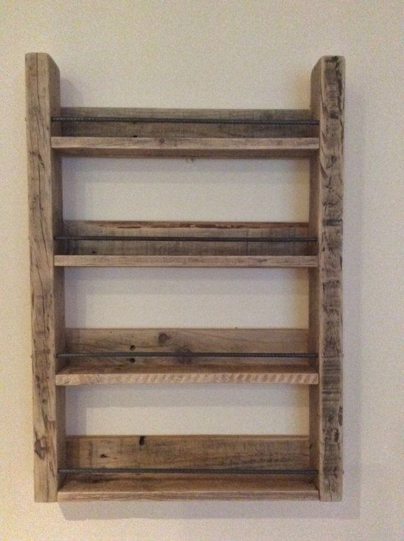 4 Shelf Reclaimed Wood Spice Rack With Steel Rebar Wood Spice Rack Craft Storage Furniture Spice Rack