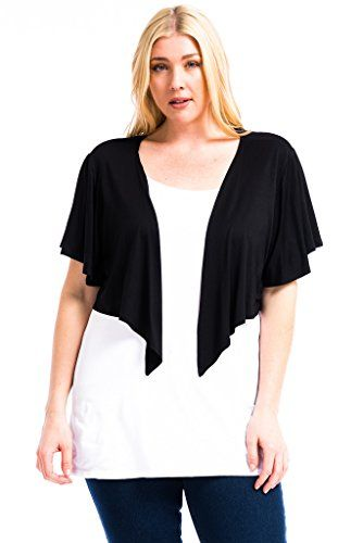 ab54d3b2336 Modern Kiwi Cascading Short Sleeve Bolero Cardigan Black 2X -- To view  further for this item