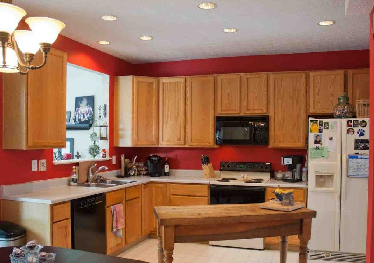 Best Kitchen Colors with Oak Cabinets   Red kitchen walls, Paint ...