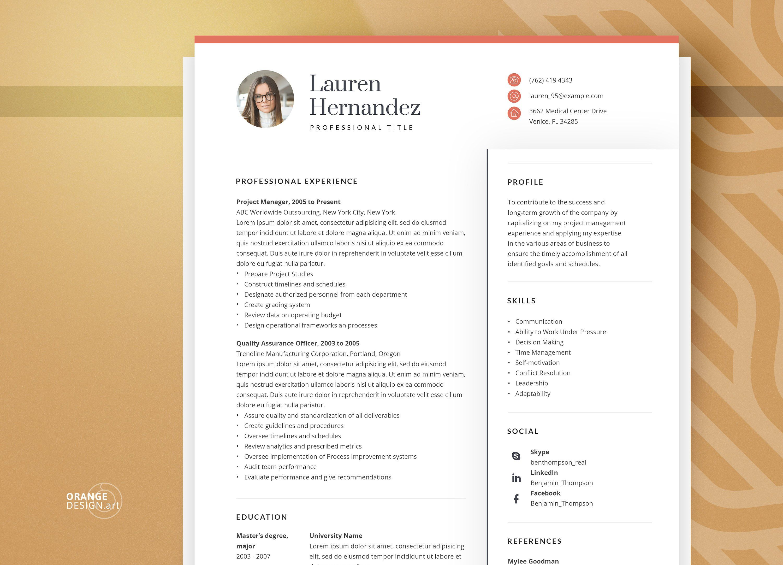 Creative resume template word teacher resume with photo