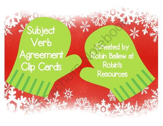Free Winter Themed Subject Verb Agreement Clip Cards From Robins