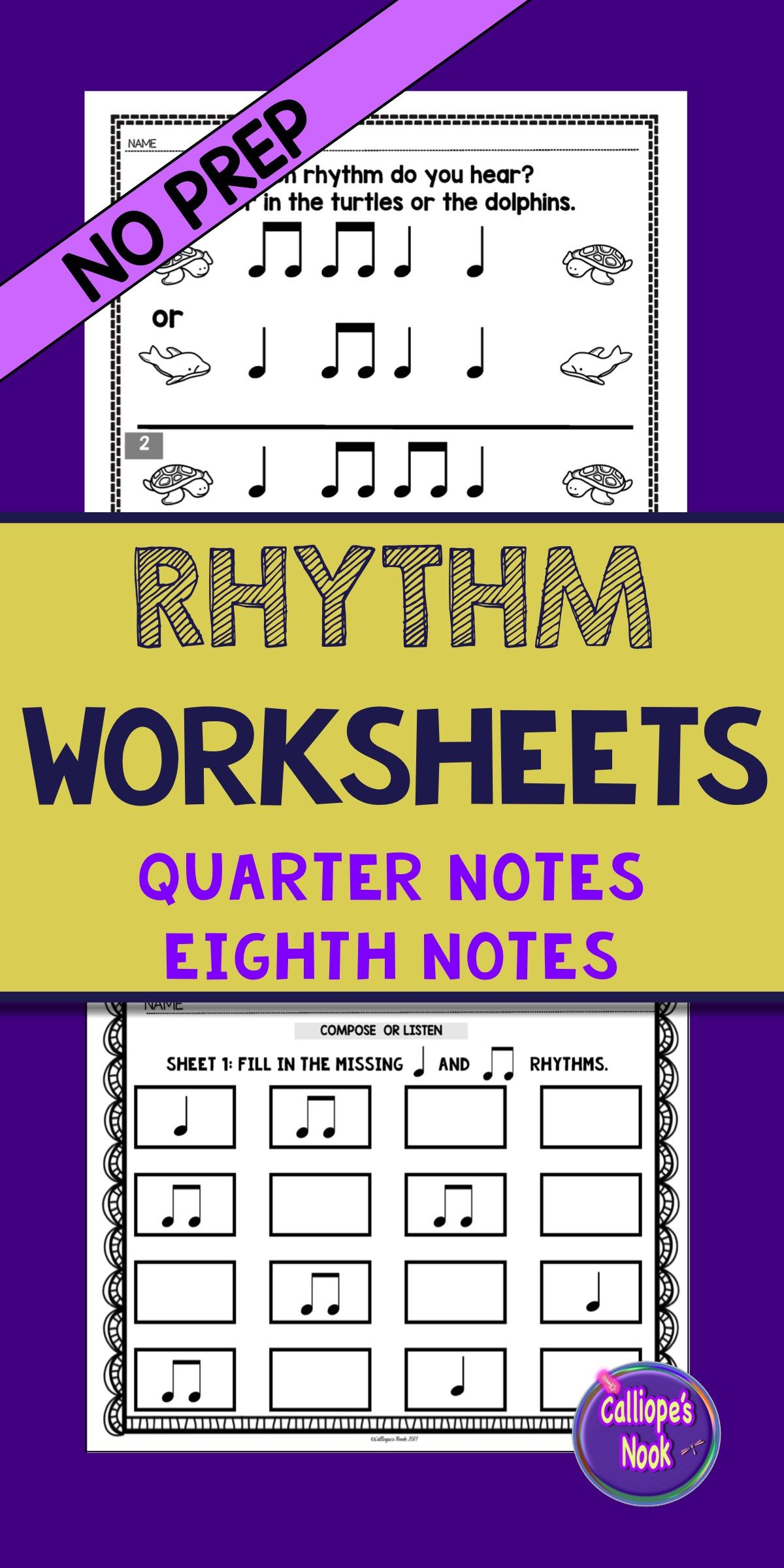 No Prep Rhythm Worksheets Quarter And Eighth Notes Ta