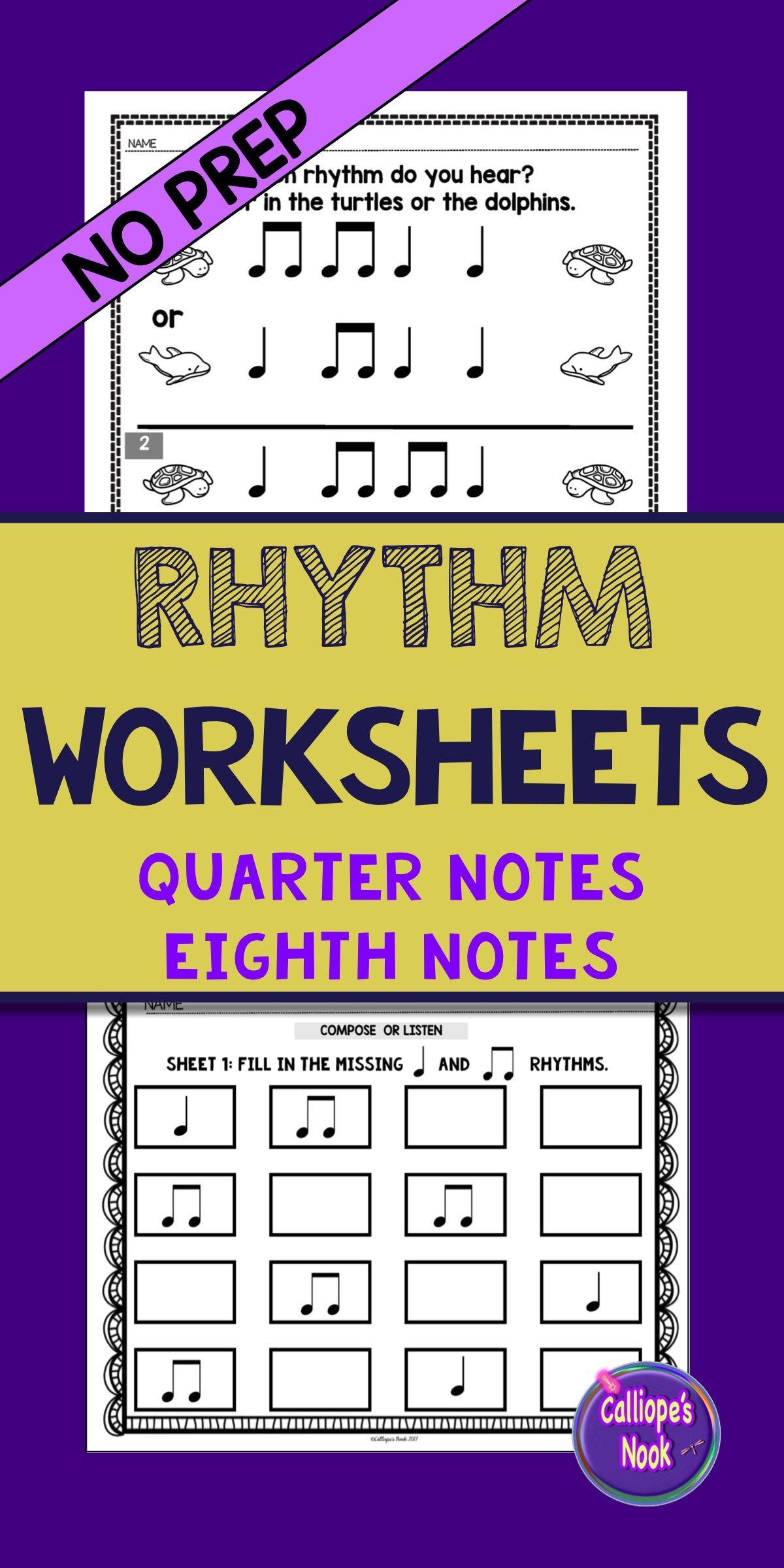 No Prep Rhythm Worksheets Quarter And Eighth Notes Ta