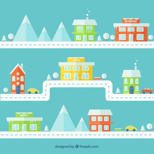 Download Colored Winter Flat City For Free