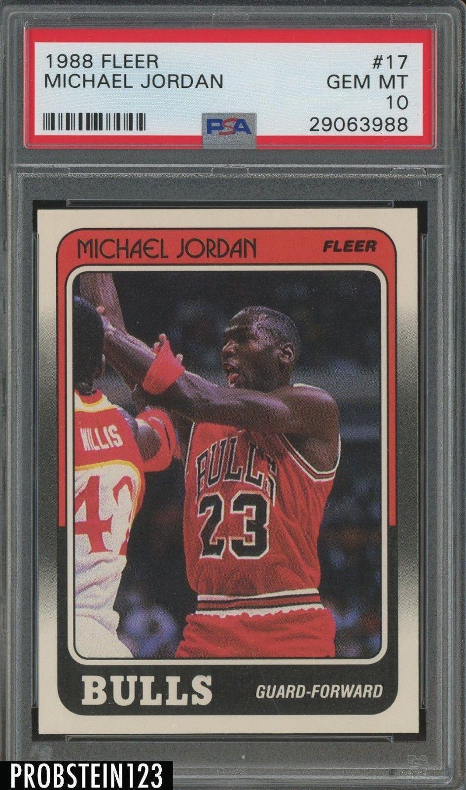 1988 fleer 17 michael jordan chicago bulls hof psa 10 gem