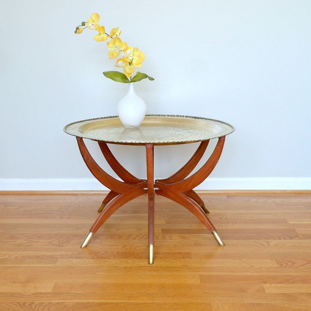 Brass Tray Table With Folding Spider Legs; Brass And Wood Coffee Table; Mid  Century