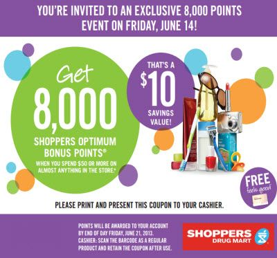 Shoppers Drug Mart Coupon Get 8 000 Pts Wus 50 Printable Coupons Canadian Coupons Coupons