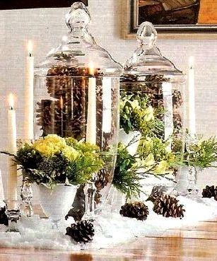 Christmas table centerpiece décor ToniKami Ðℯck Ʈհe HÅĿĿs Clear glass apothecary jars pine cones