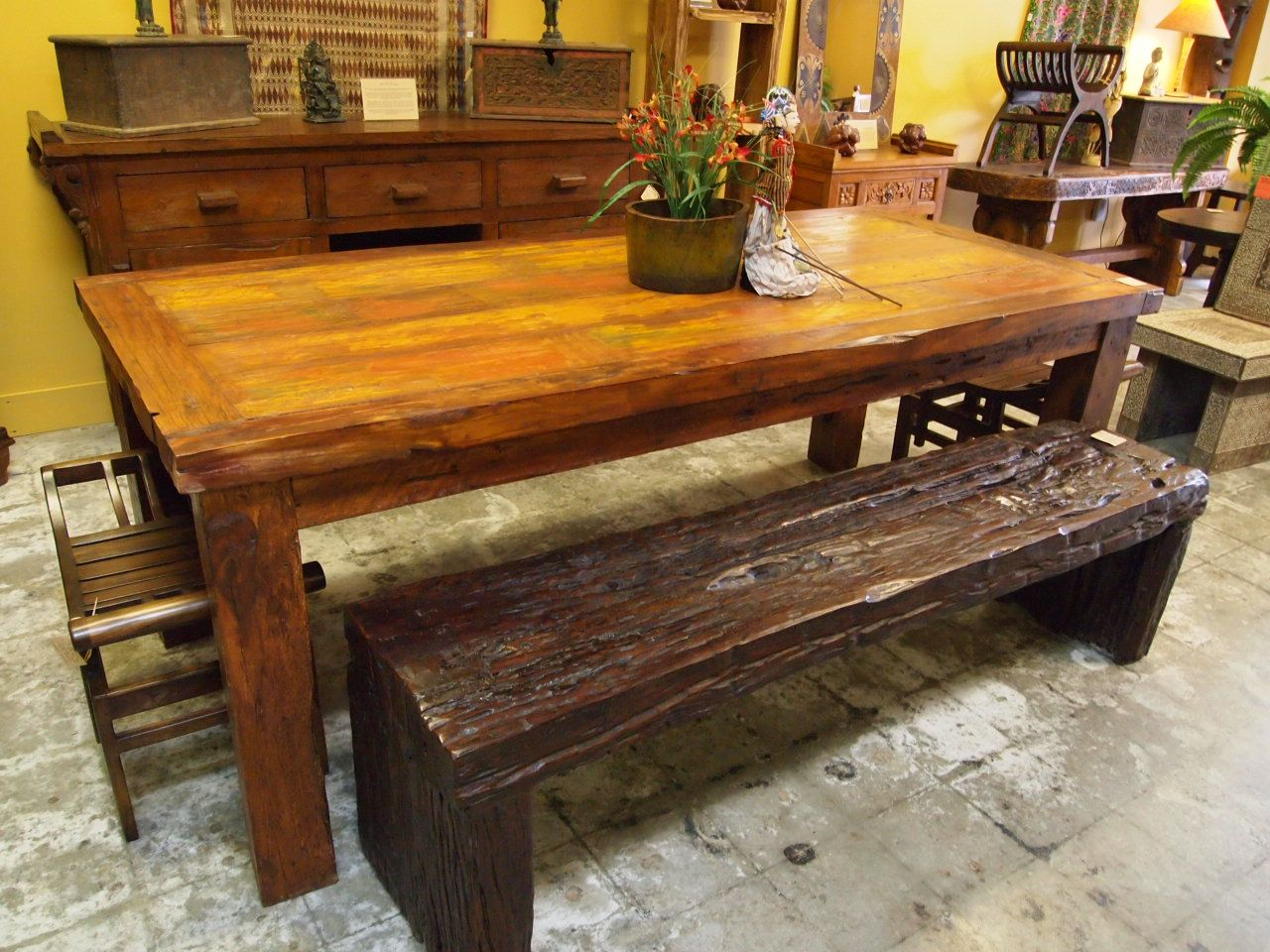 Reclaimed Wood Dining Table Rustic Ironwood Bench Visit Gado