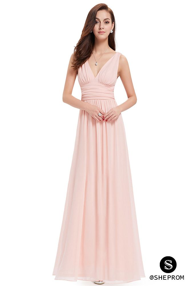 f1b0942600d35 Simple Pink Double V-Neck Chiffon Evening Dress - $39 #EP09016PK ...