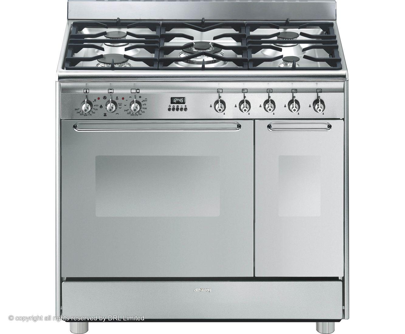 Smeg Cg92x9 90cm Dual Fuel Range Cooker Stainless Steel A A Rated Range Cooker Dual Fuel Range Cookers Cooker
