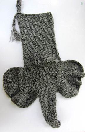 Crocheted Elephant Christmas Stocking. You can find this and/or the ...