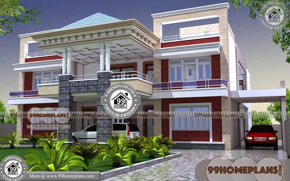 Simple 2 Storey House Design With Luxury House Plans Designs Having 2 Floor 6 Total Bedroom 7 Total Bathro Luxury House Plans Kerala House Design House Plans