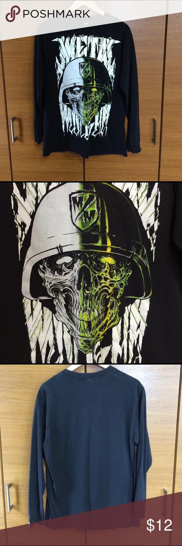 badass skull long sleeve t metal mulisha zombie skull