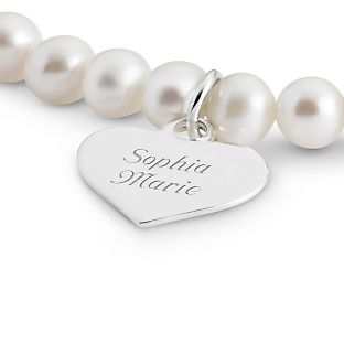 Personalized Girl's Sterling Pearl Bracelet with Heart With Free Keepsake Box, Add Your Message