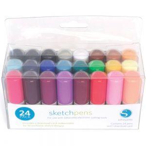 Stylos pour le porte-outil de la machine Silouette, ce pack comporte 24 stylos avec une multitude de couleurs. À 21,59€ ici >>> https://www.perlesandco.com/Silhouette_24_stylos_a_croquis-p-81764.html