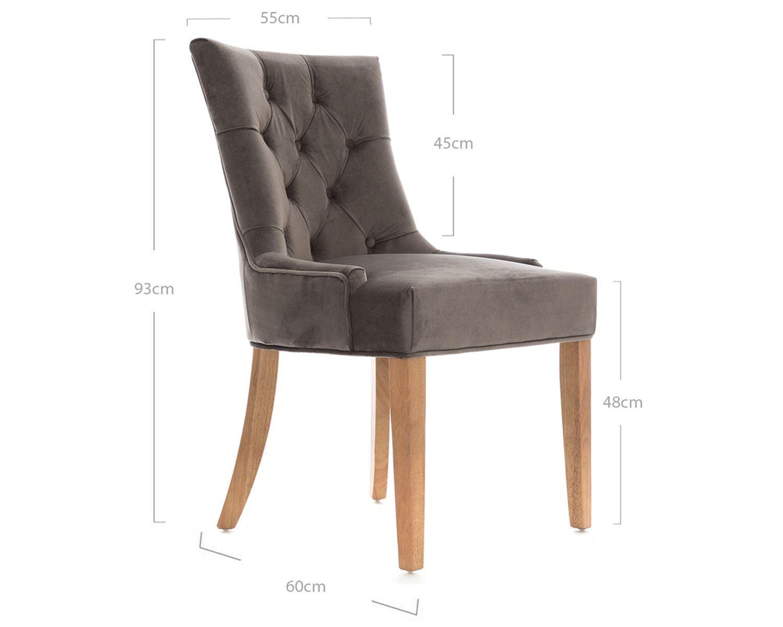 Verona Dining Chair In Grey Velvet With Oak Legs Dining Chairs Chair Grey Velvet