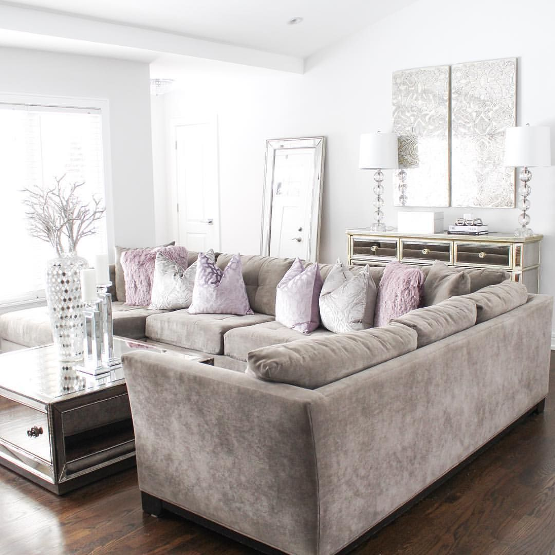 Glam Home Decor Glam Living Room Gray Sectional