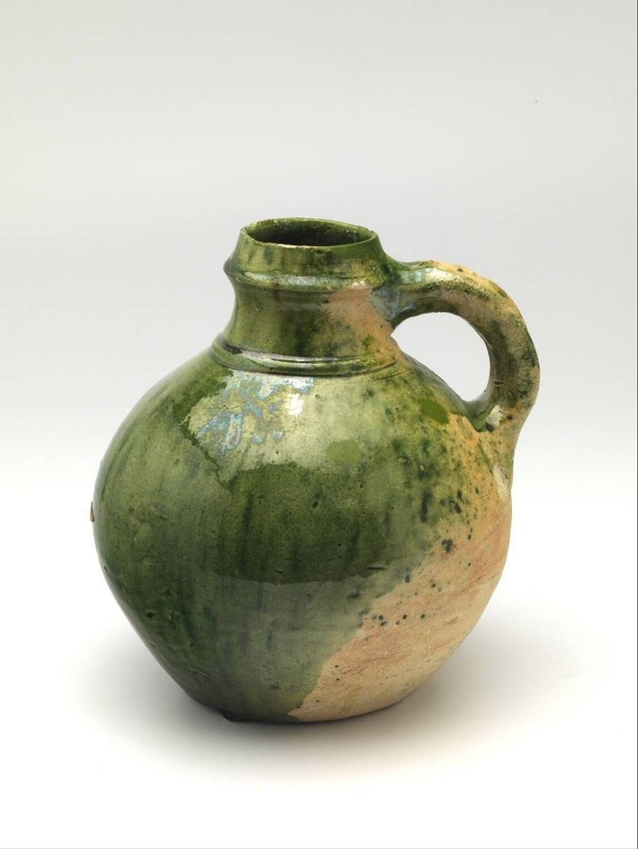 Jug 1500 1550 H 17 5 X Diam 16 5 Cm Lead Glaze Whiteware Copper Oxide Europe Western Europe The Netherlands North Holland E Modern Ceramics Ceramic Art English Pottery
