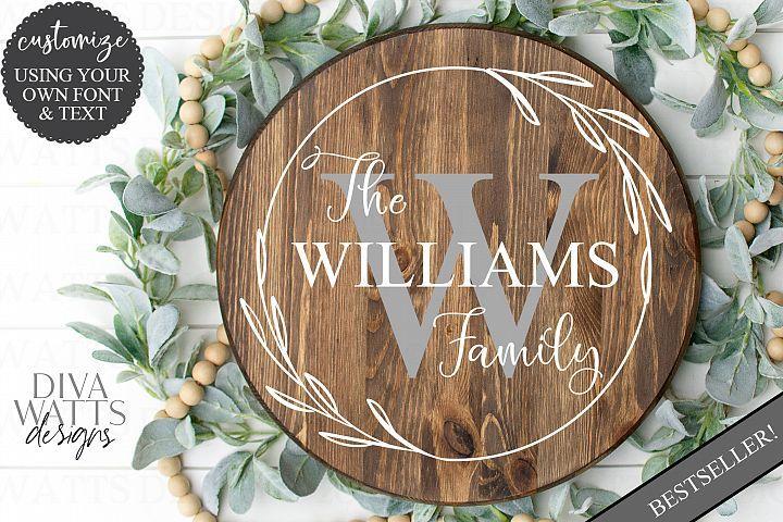 Monogram Wreath Family Last Name Farmhouse Sign SVG #monogram #last #name #farmhouse #wreath #welcome #sign #svg #customize #personalize