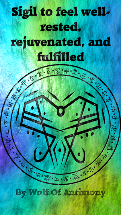 Sigil to feel well-rested, rejuvenated, and fulfilled