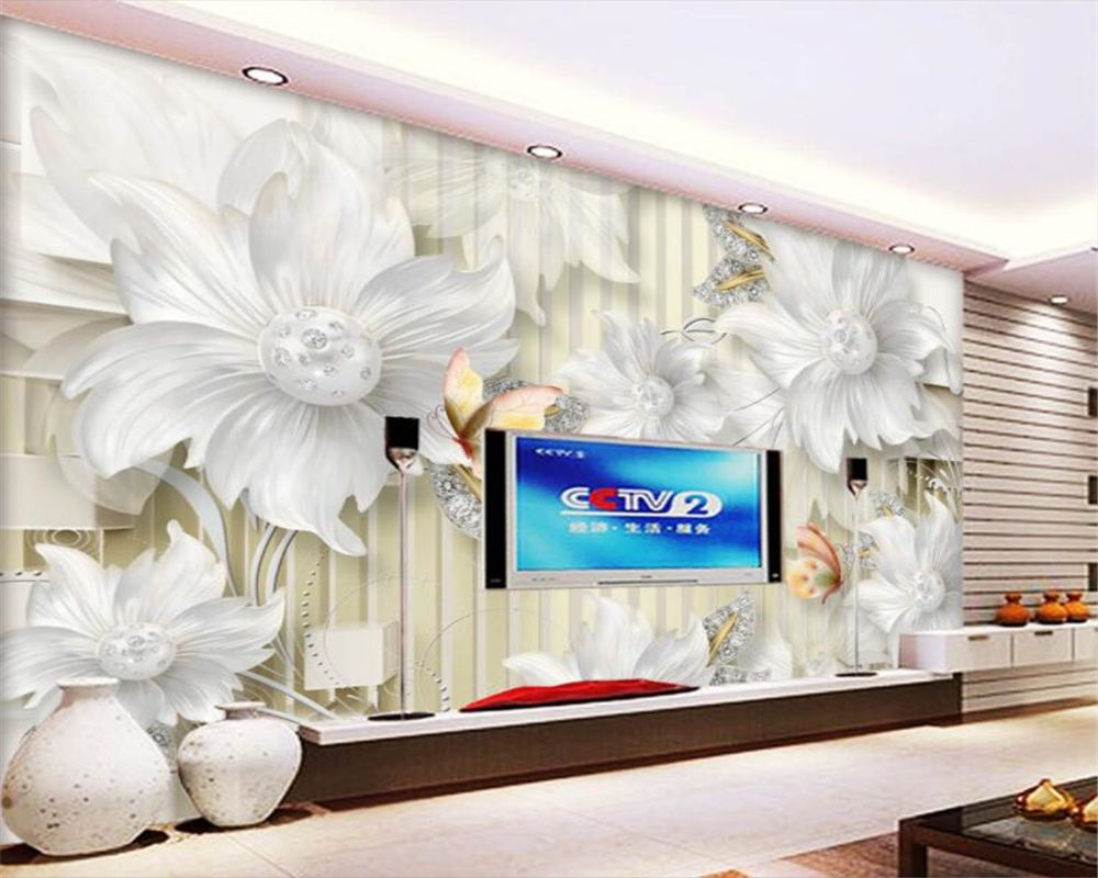Beibehang High Quality 3D Wallpaper HD Palace Jewelry Diamond Flower ...