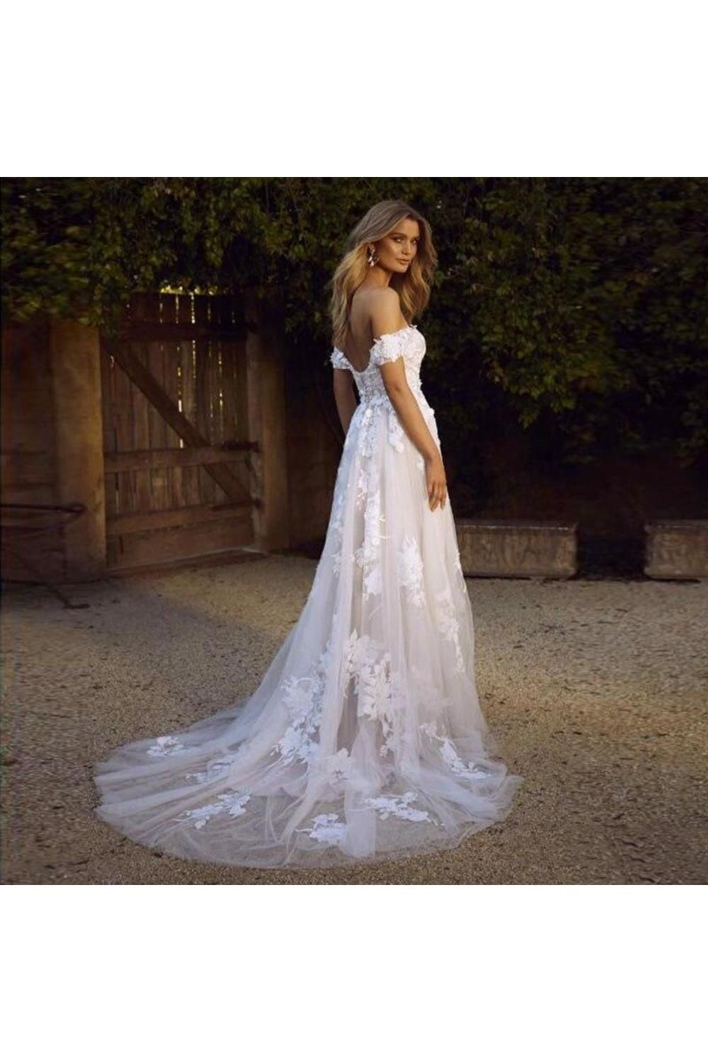 Simple A Line Off The Shoulder White Beach Wedding Dresses Bukpcclly7m Off Shoulder Wedding Dress Lace Beach Wedding Dress Princess Wedding Gown