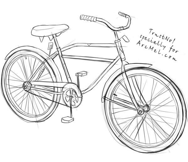How To Draw A Bicycle Step By Step Dibujos Hipster Bicicleta