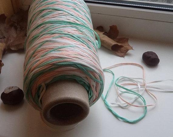 Cotton lace yarn on cone bobbin yarn ribbon yarn tape yarn