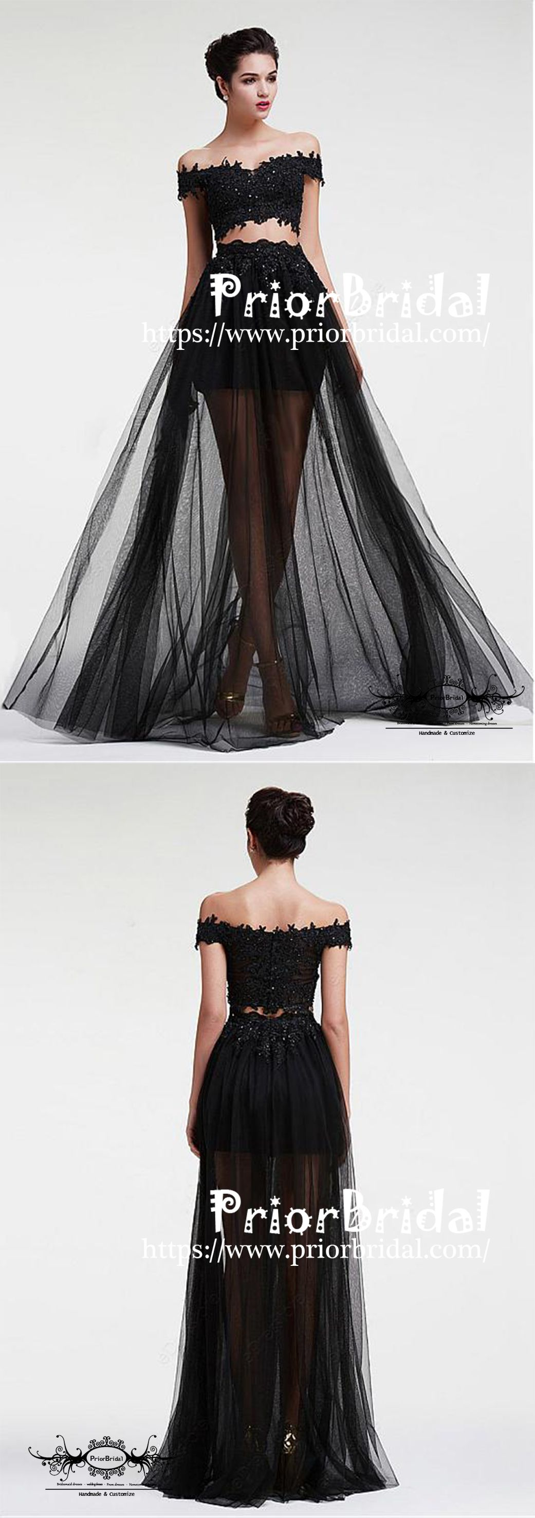 Long black two pieces tulle off shoulder with lace cocktail prom