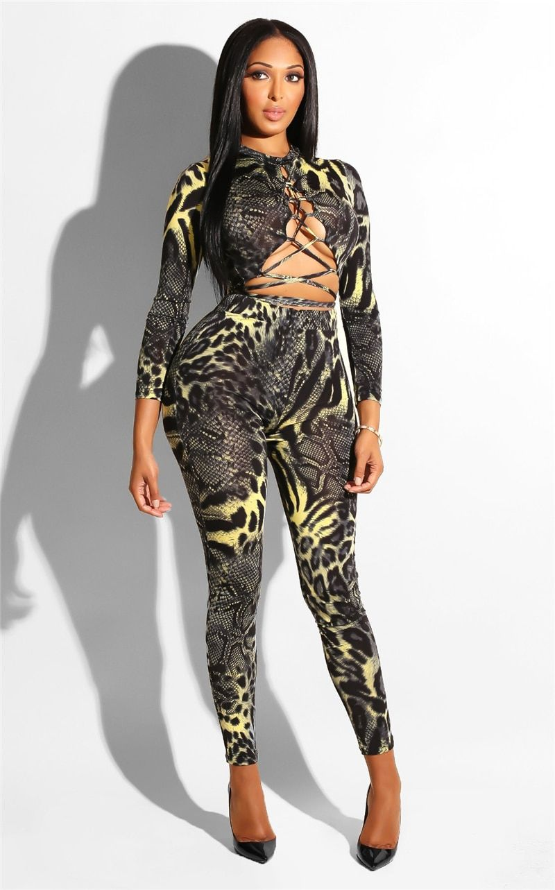 5ded3113b6398 Snake Skin Print Bandage Sexy Jumpsuit 2019 Winter Women Long Sleeve Hollow  Out Lace Up Bodycon