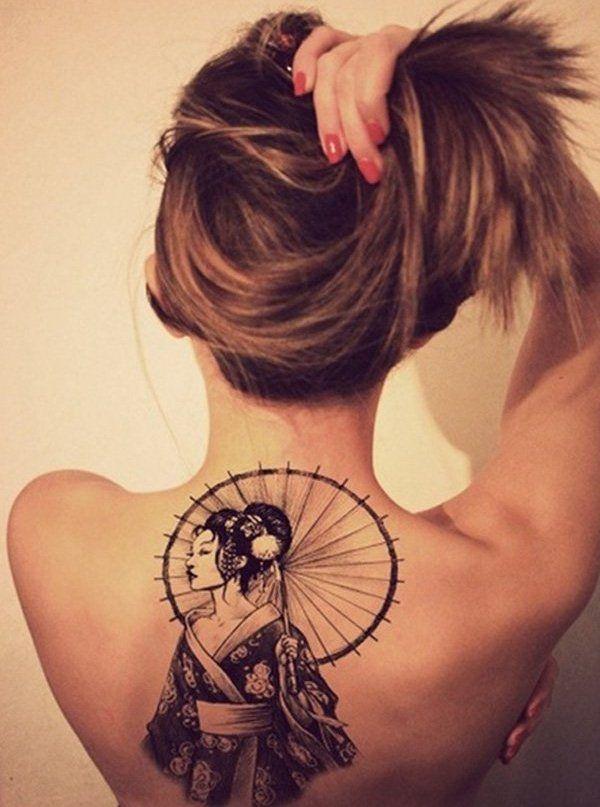 tattoo mit geisha - motiven am rücken | tattoo | tatouage, tatouage