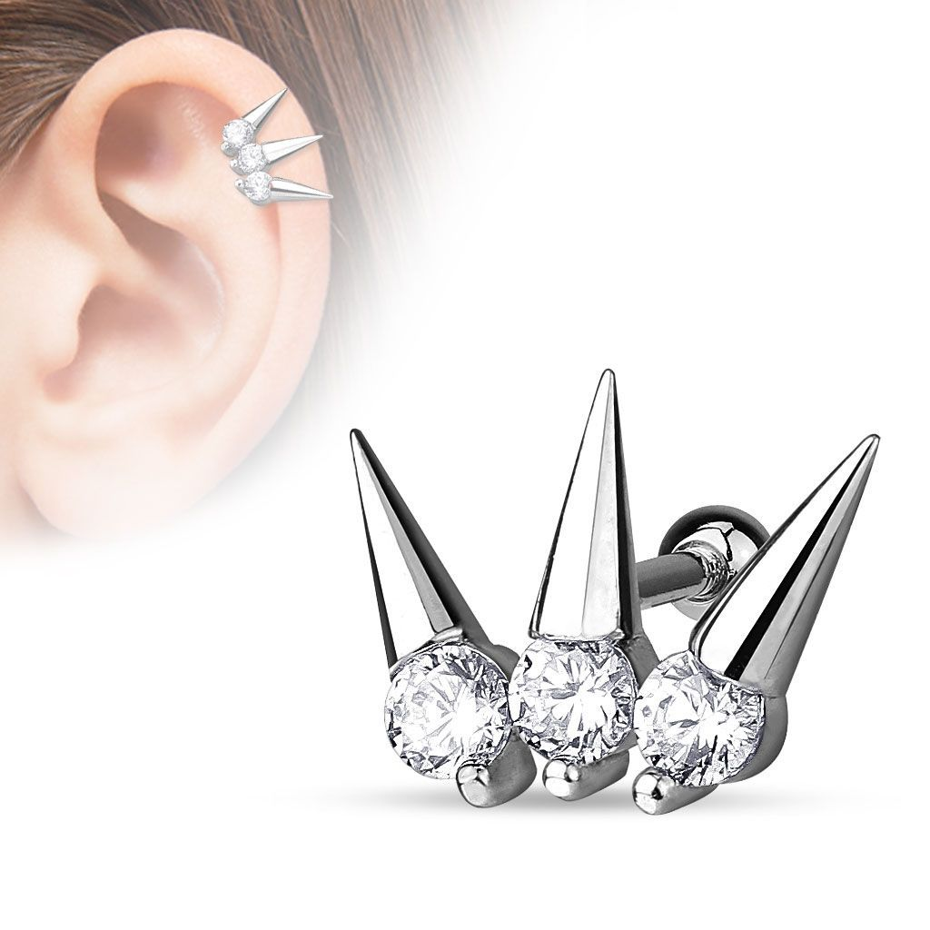 {Clear} CZ Set Spikes 316L Surgical Cartilage/Tragus Barbell