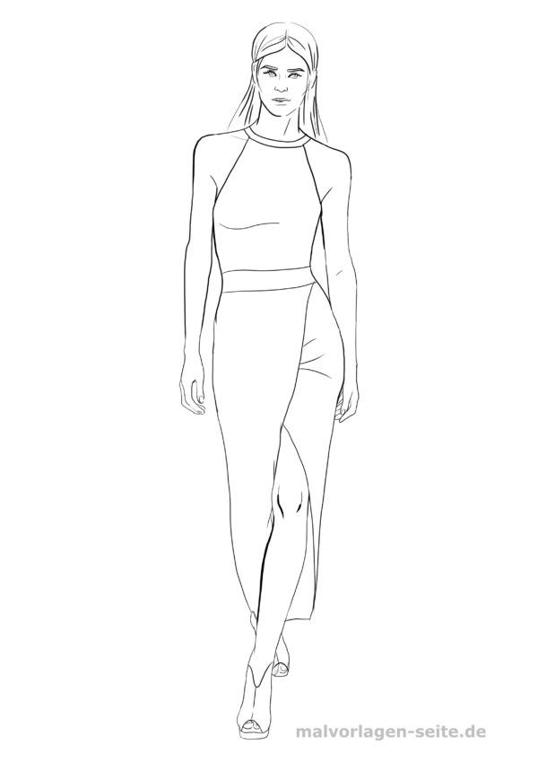 Malvorlage Model Kleid