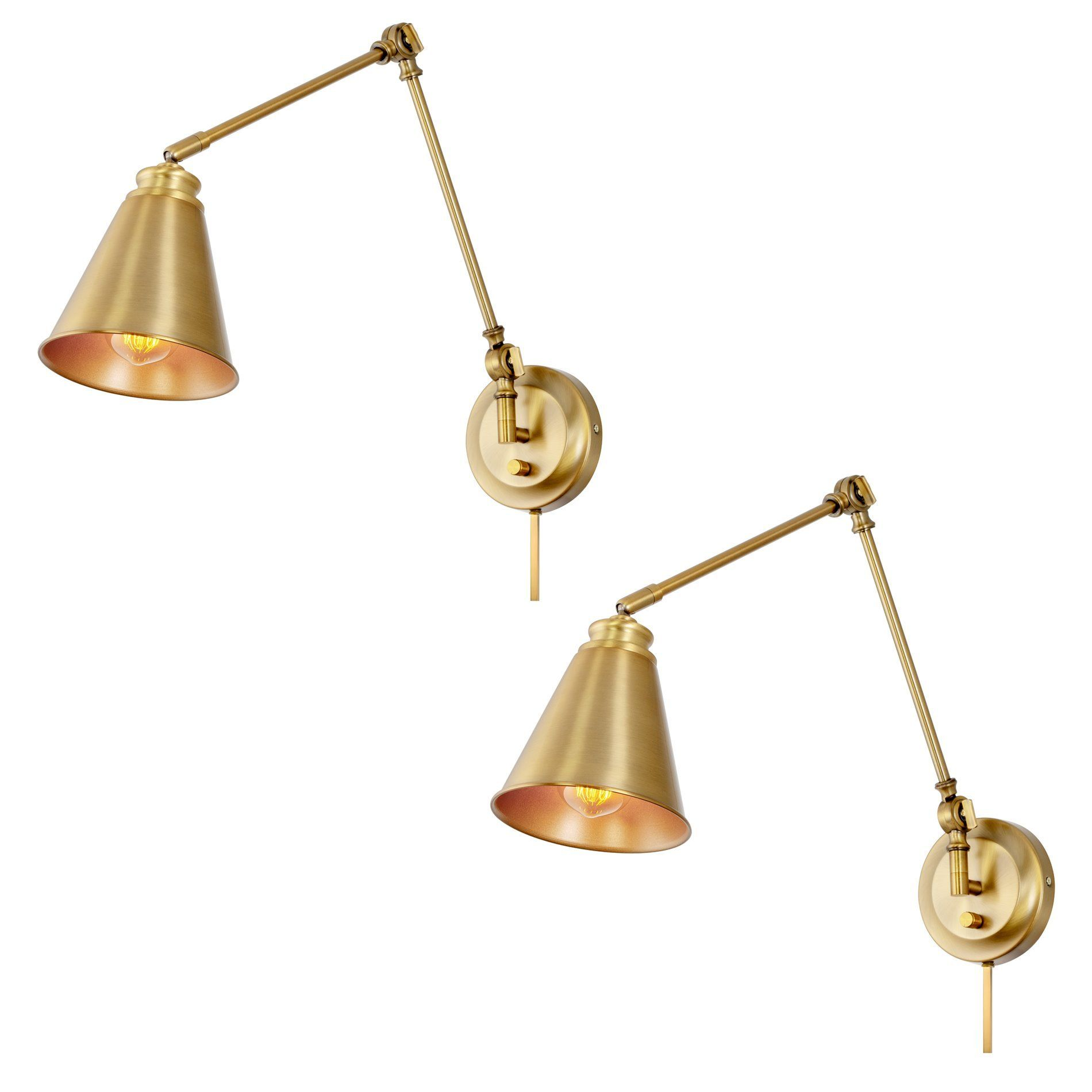 Kira Home Ellis 18 Vintage Industrial Swing Arm Wall Lamp Plug In Wall Mount Cord Covers Warm Brass Finish 2 Pack In 2021 Swing Arm Wall Lamps Wall Lamp Swing Arm Wall Sconce