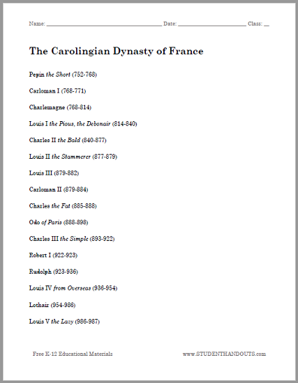 Carolingian Dynasty of France Outline - Free to print (PDF) with