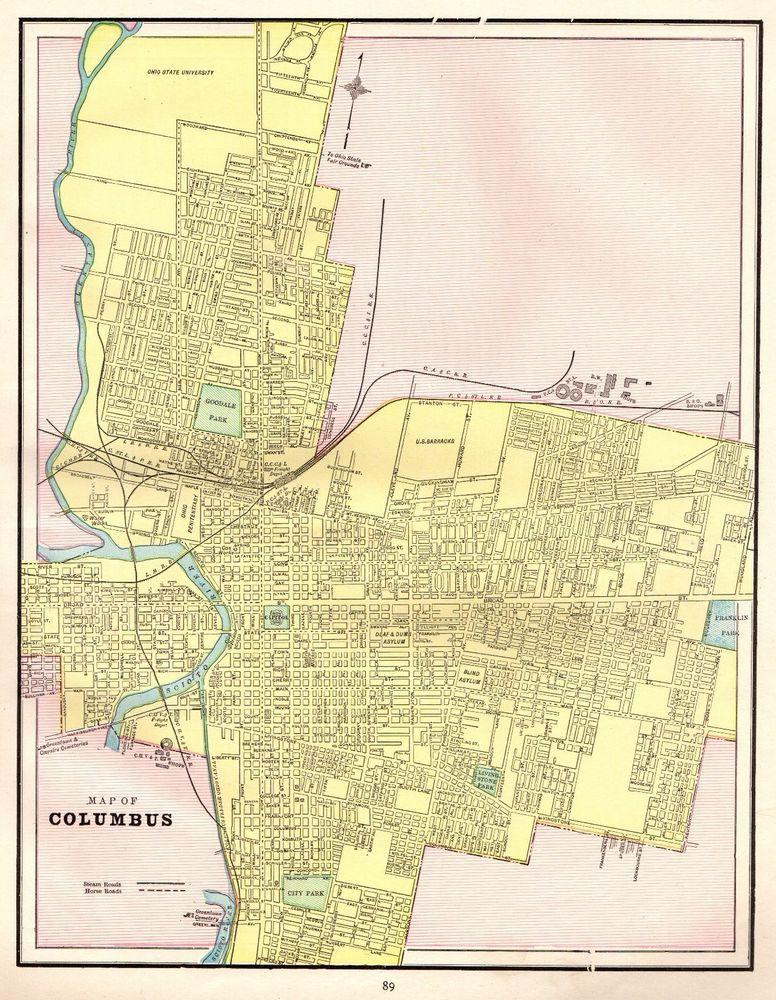 1892 Antique Original COLUMBUS OHIO Map Vintage City Map of Columbus ...