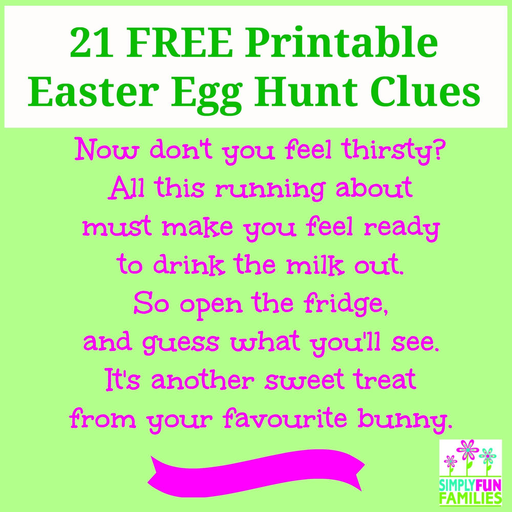 Nifty image regarding printable easter egg hunt clues