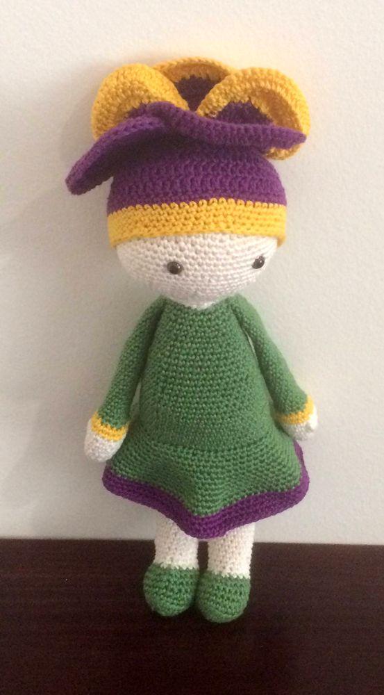 Violet Vicky crochet flower doll made by Jenny M - crochet pattern by Zabbez