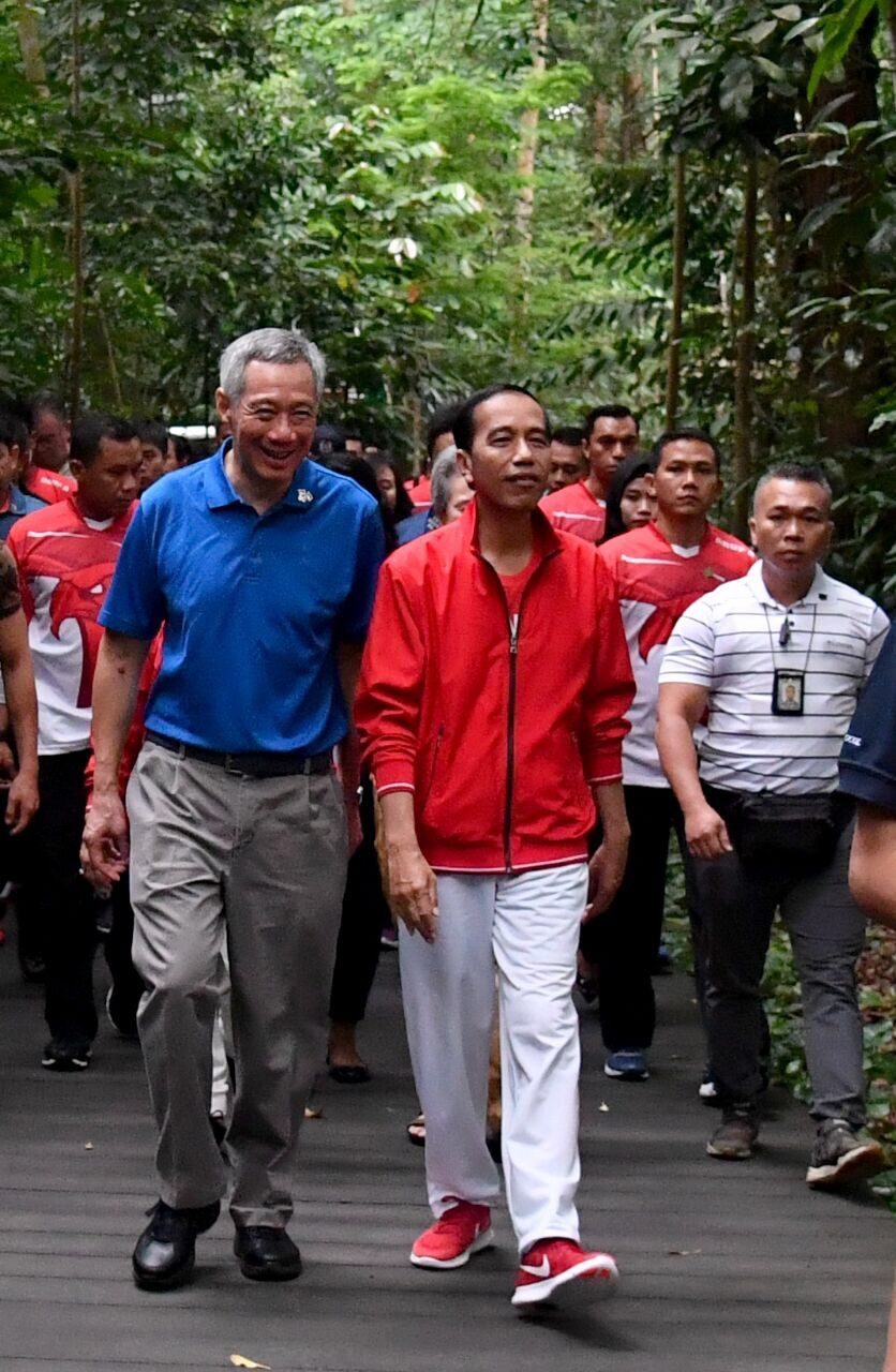 Jokowi and Lee Hsien Loong at Singapore botanical garden....7 September 2017