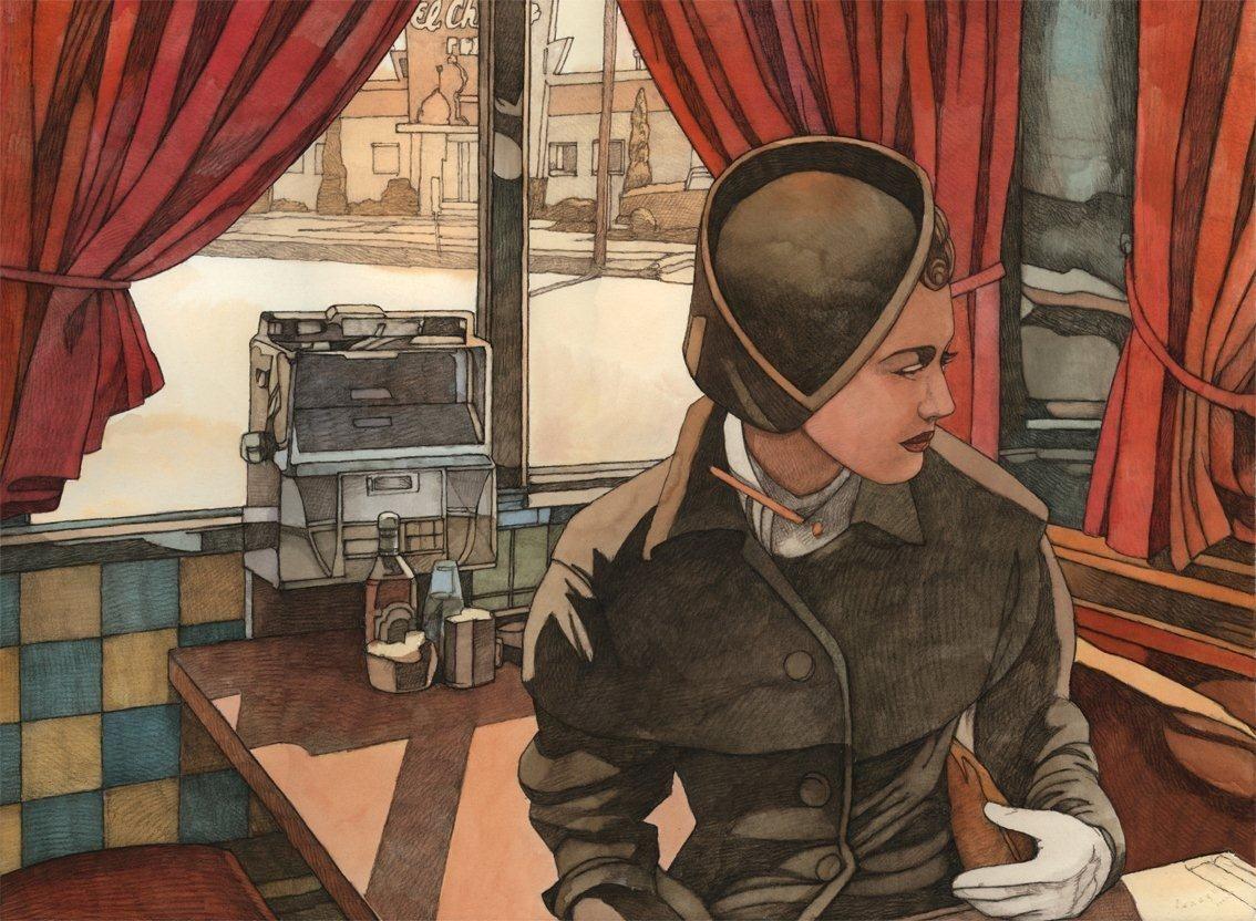 Miles Hyman Windows Illustration Art Painting