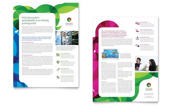 Network Administration Datasheet Template Design by StockLayouts - pamphlet layout template